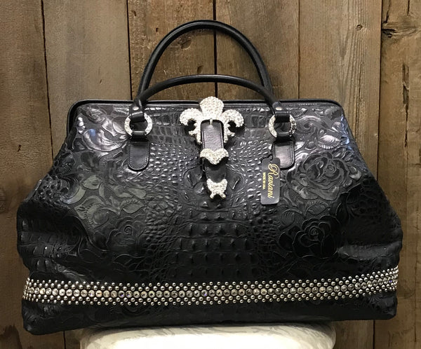 Black Croc And Floral Leather