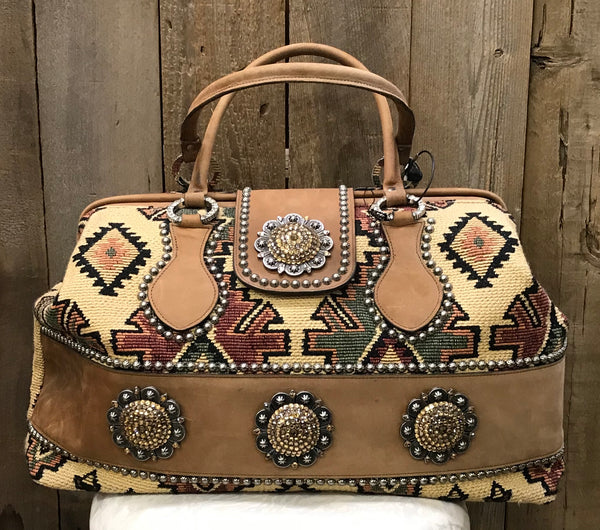 Beige Navajo Tapestry And Suede