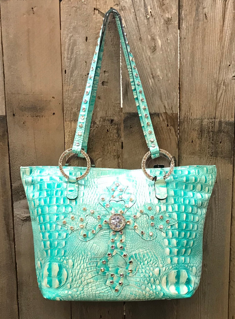 Glitter Turquoise Croc Leather With Swarovski Crystal Cross