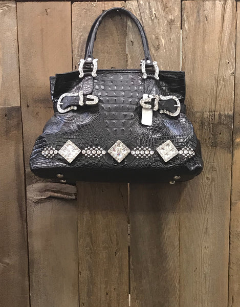 Black Croc With Swarovski Crystal Conchos Handbag