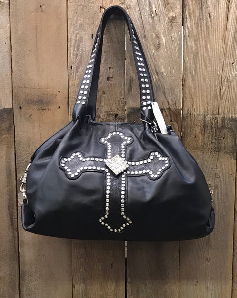 Black Leather With Swarovski Crystal Cross And Concho