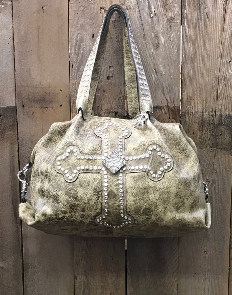 Taupe Leather With Swarovski Crystal Cross And Concho