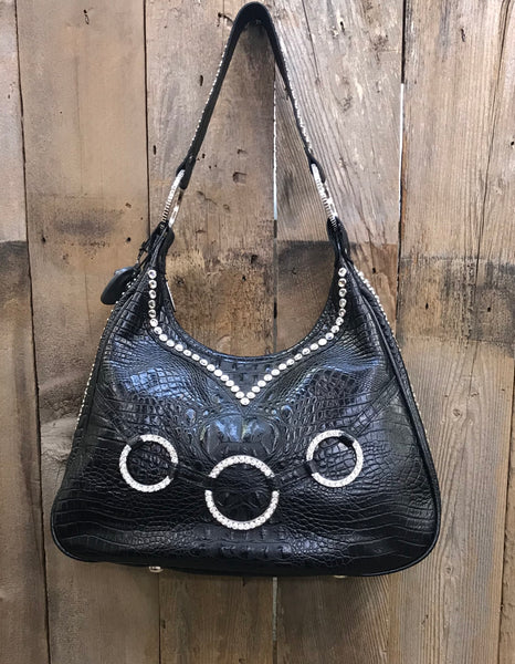 Black Croc With Swarovski Crystal Rings Handbag