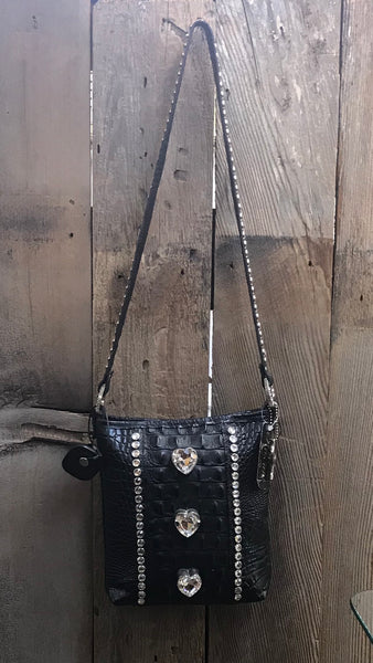 Black Croc Leather With Three Large Heart Shaped Swarovski Crystals