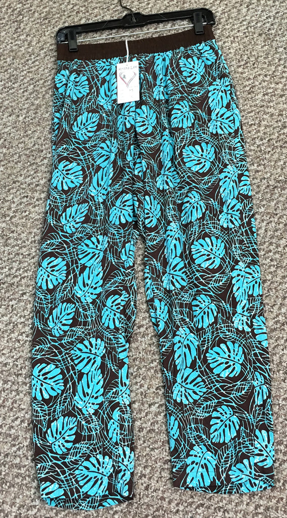 Brown/Blue Print Capri