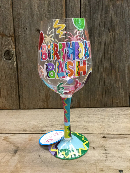 """Birthday Bash"" Wine Glass"