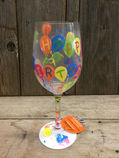 """Happy Birthday Balloons"" Wine Glass"