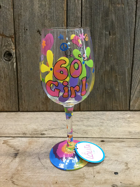 60's Girl Wine Glass
