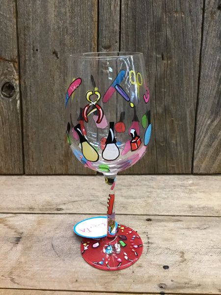 Mani Pedi Wine Glass