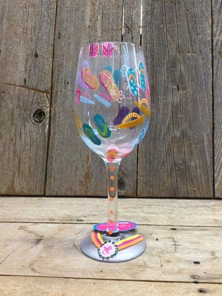 """Flip Flops"" Wine Glass"