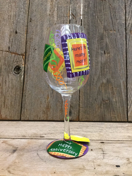 """Happy Anniversary""  Wine Glass"