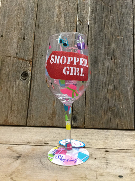 Shopper Girl Wine Glass