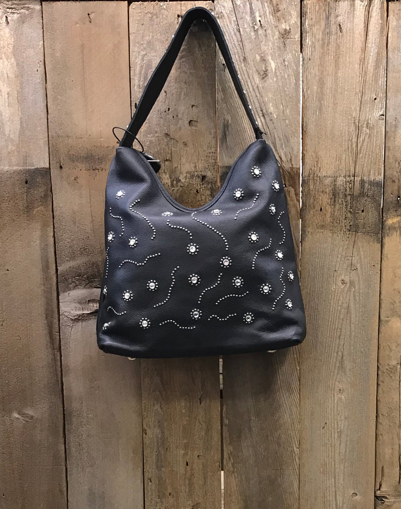 Black Leather With Swarovski Crystals And Rivets Handbag