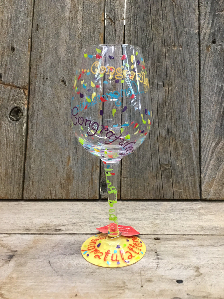 """Congratulations"" Wine Glass"