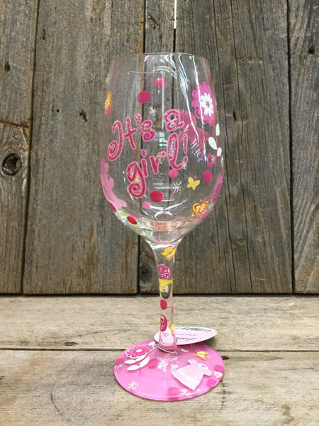 It's A Girl Wine Glass