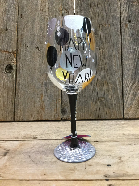 """Bling In The New Year"" Wine Glass"