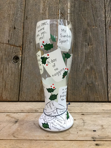 """My Holiday Wish List"" Pilsner Glass"