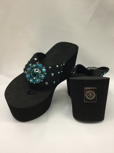 Miss Enchanted Turquoise AB Flip Flops