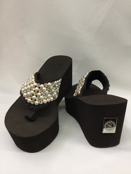 Miss Tahoe White Pearls & Gold Crystals Flip Flops