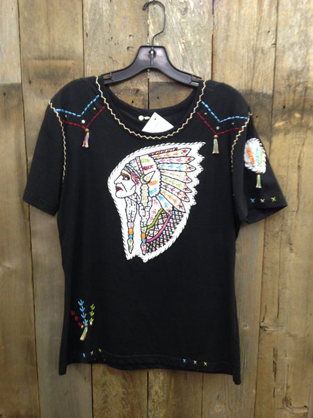 SH-046 Indian Head Black T-Shirt