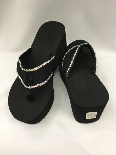 Miss Addressed AB Crystal Outline Flip Flops