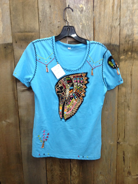 SH-046 Indian Head Blue T-Shirt