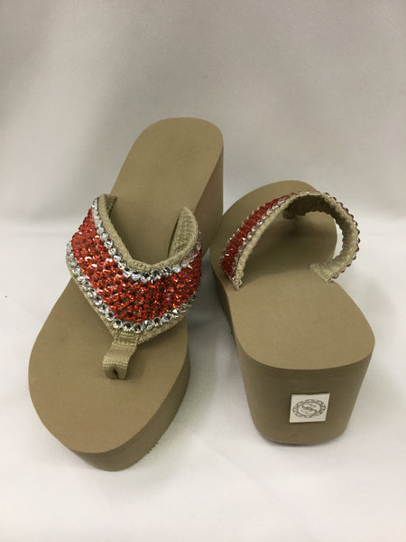 Miss Tified Orange, Coral w/ Crystal Outline Flip Flops