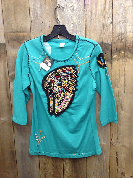 SH-046 Indian Head Turquoise T-Shirt