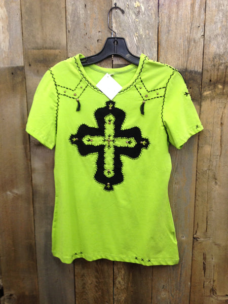 SH-073 Cross Lime Green T-Shirt