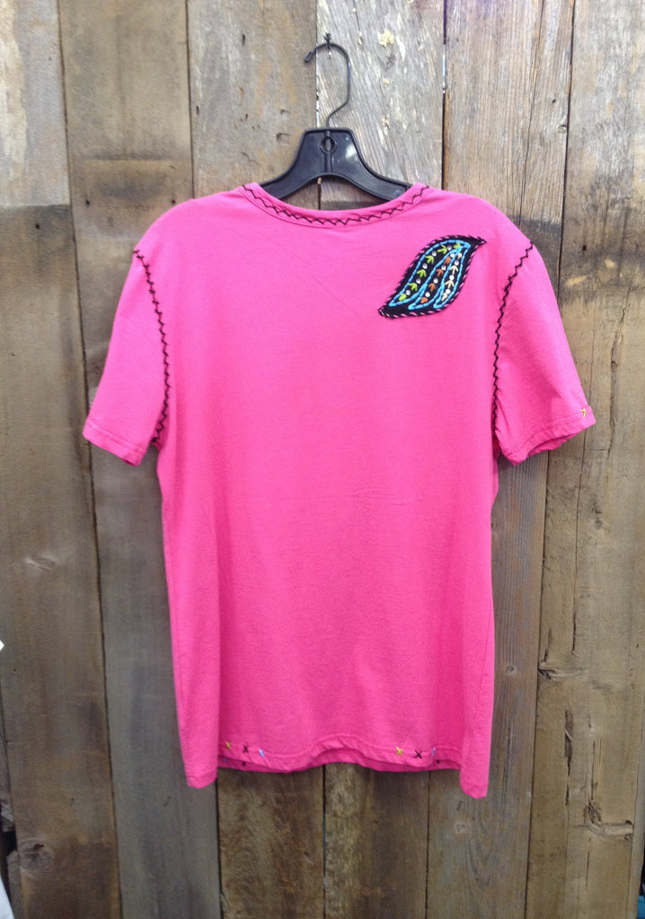 SH-076 Cross w/ Wings Hot Pink T-Shirt