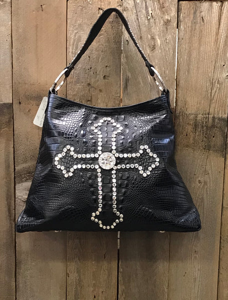 Black Leather Croc With Swarovski Crystal Cross Handbag