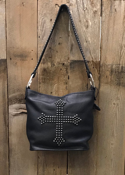 Black Leather With Rivet Cross Handbag