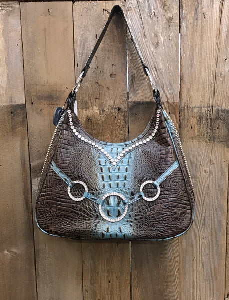 Brown And Turquoise Croc With Swarovski Crystal Rings On Handbag