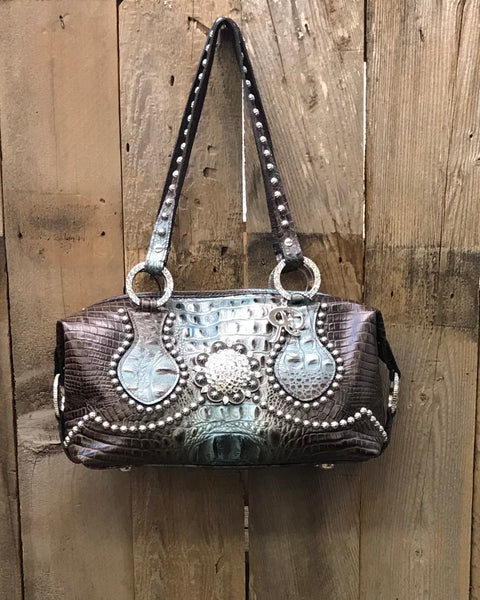 Brown And Turquoise With A Swarovski Crystal Concho And Rivets Handbag