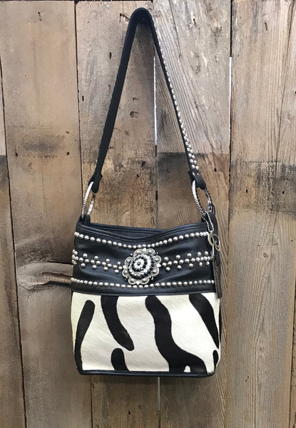 Black Coach/Zebra Bucket with Swarovski Crystals Handbag