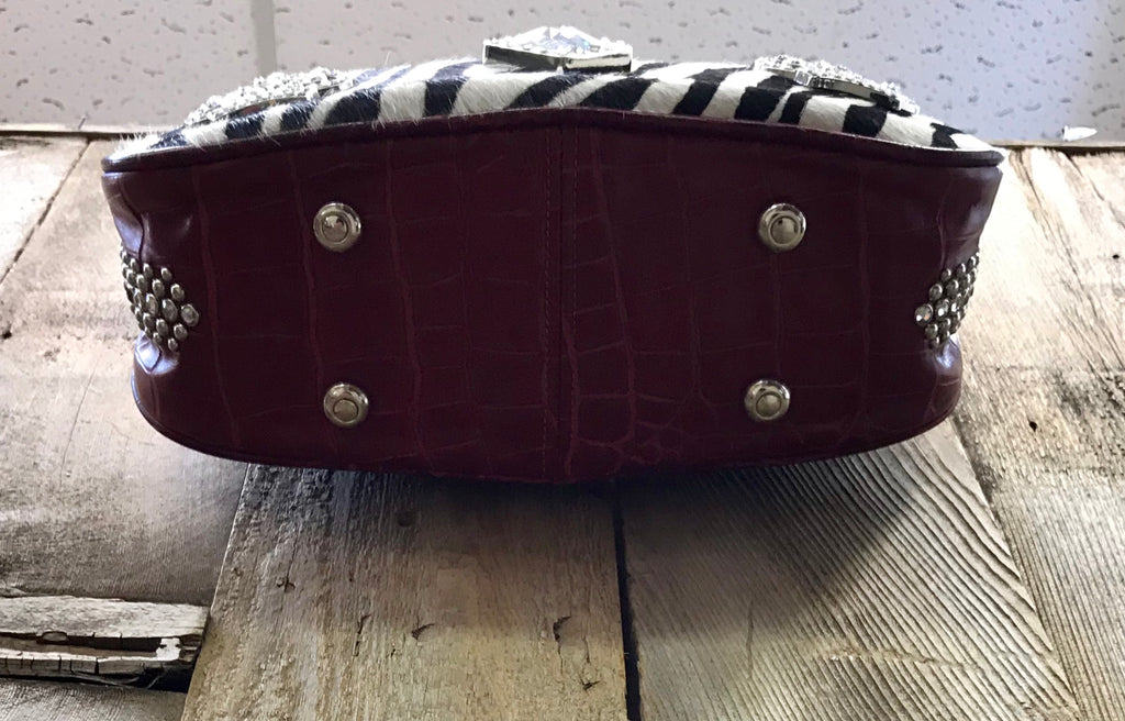 Red Croc Leather With Zebra And Crystal Conchos