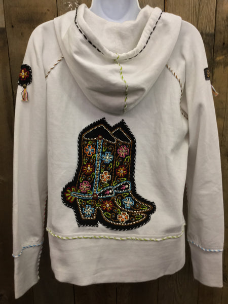 H-081 Cowboy Boots White Jacket/Hoodie