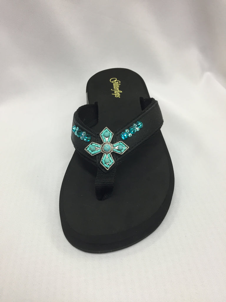 Retired - Cross Turquoise Flip Flops