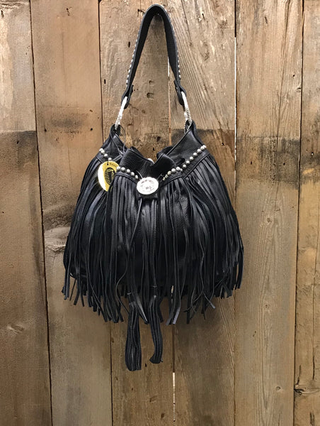 Black Drawstring With Tassels And Swarovski Crystals Handbag