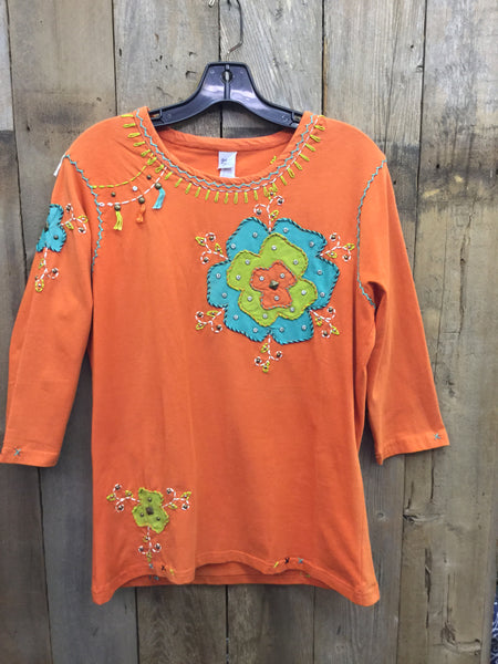SH-090 Flower Orange T-Shirt