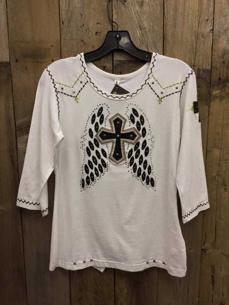 SH-015 Cross W/ Wings White T-Shirt