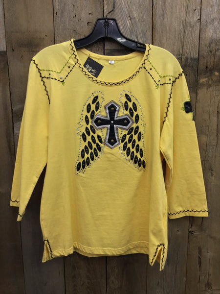 SH-015 Cross W/ Wings Yellow T-Shirt