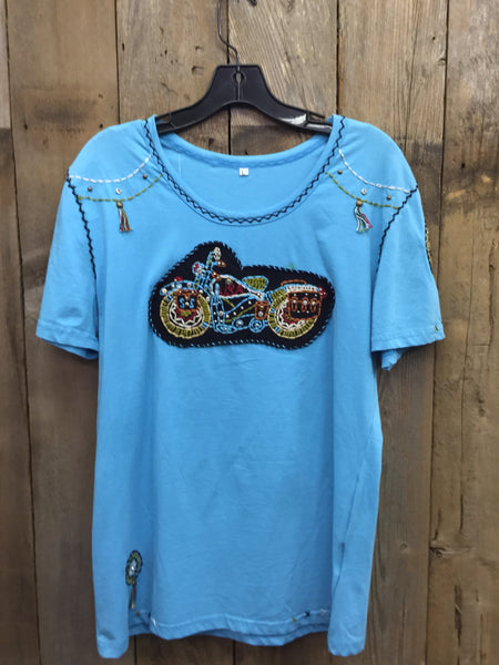 SH-045 Motorcycle Blue T-Shirt