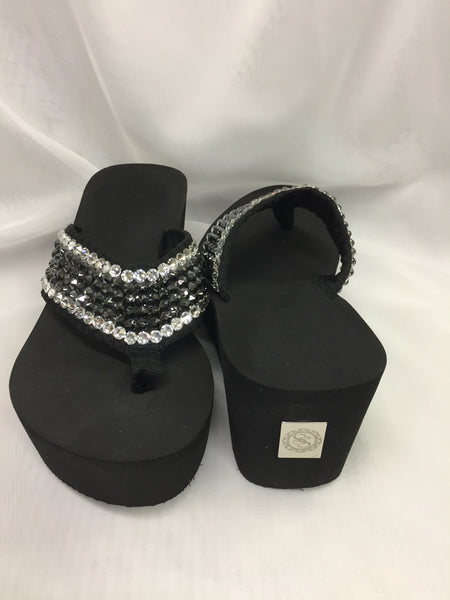 Miss Vegas Black/Crystal Outline Flip Flops
