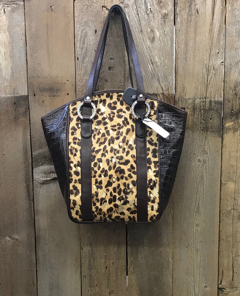 Brown Leather With Cheetah