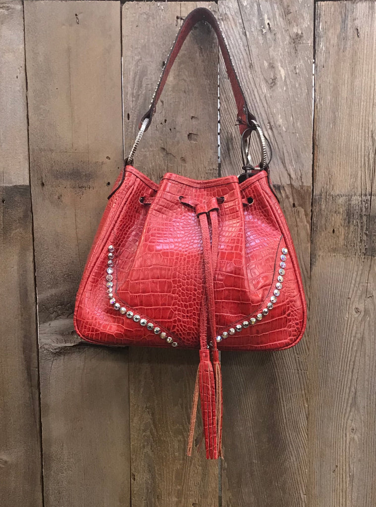 Red Drawstring Bag With Swarovski Crystals