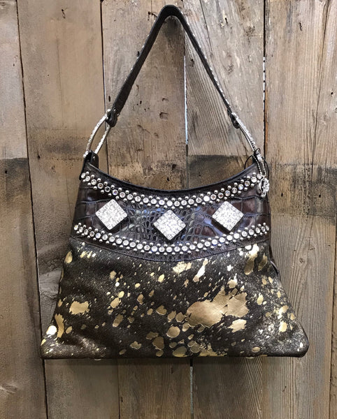 Brown And Gold Acid Wash With Swarovski Crystal Horseshoe Rings Handbag