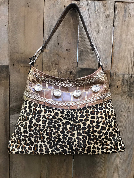 Leopard With Swarovski Crystals And Brown Gator Print