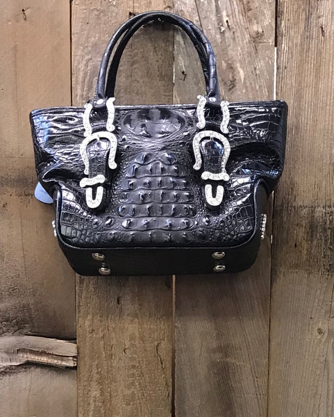 Black Croc With Swarovski Crystal Buckles Handbag