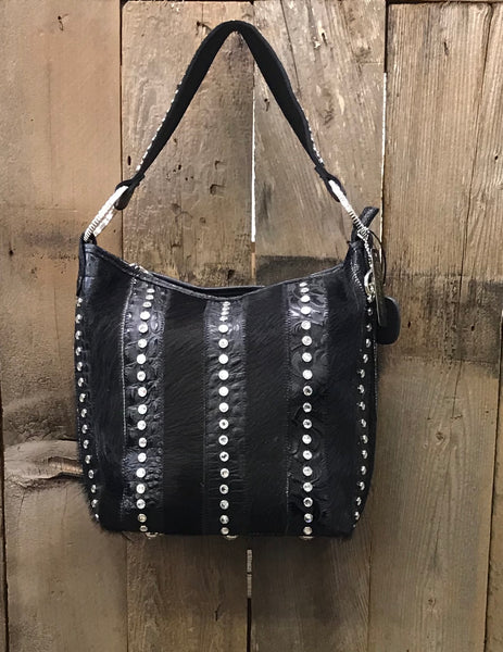 Black Leather With Swarovski Crystal Strips And Black Hair Handbag